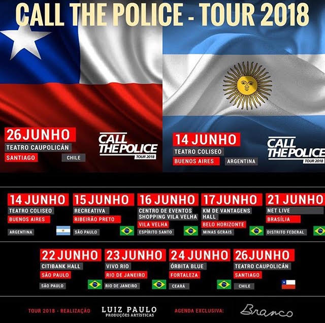 "Novas datas: Tour ""Call The Police"" 2018"